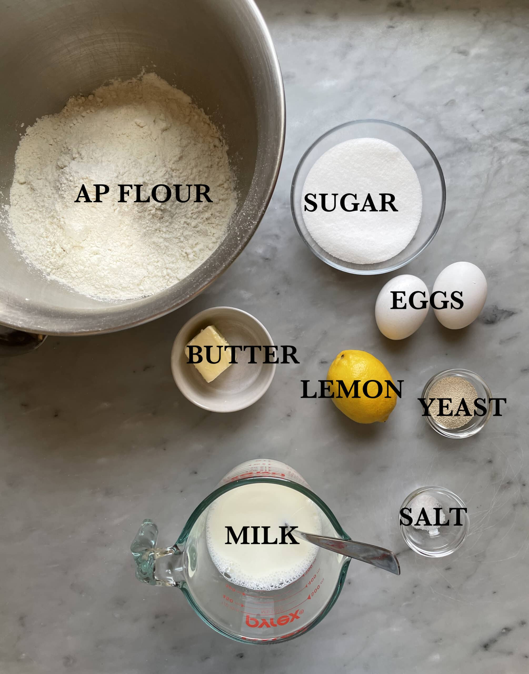 Image of the ingredients for the dough of lemon poppy seed buns.