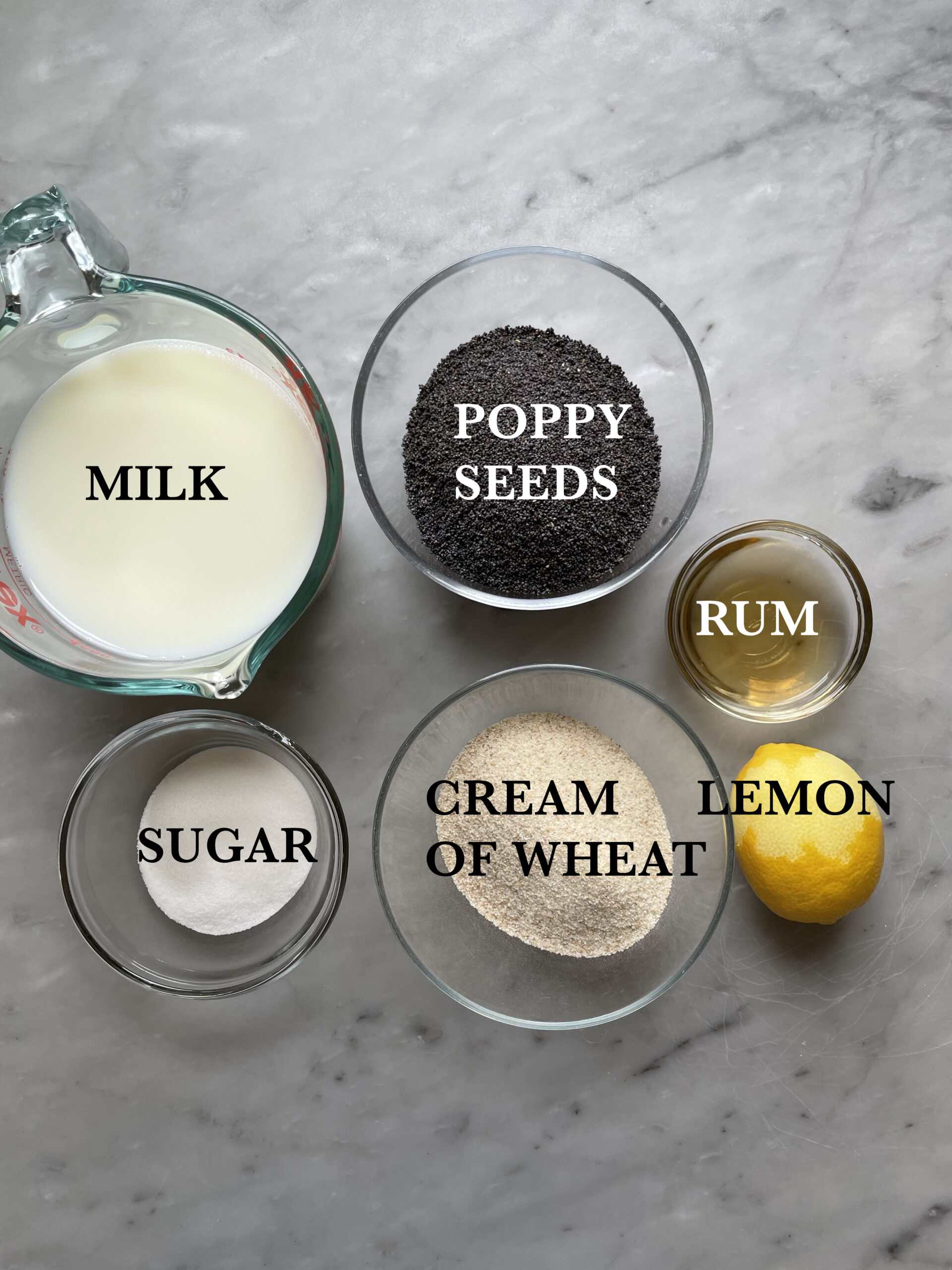Image of the poppy seed filling ingredients.