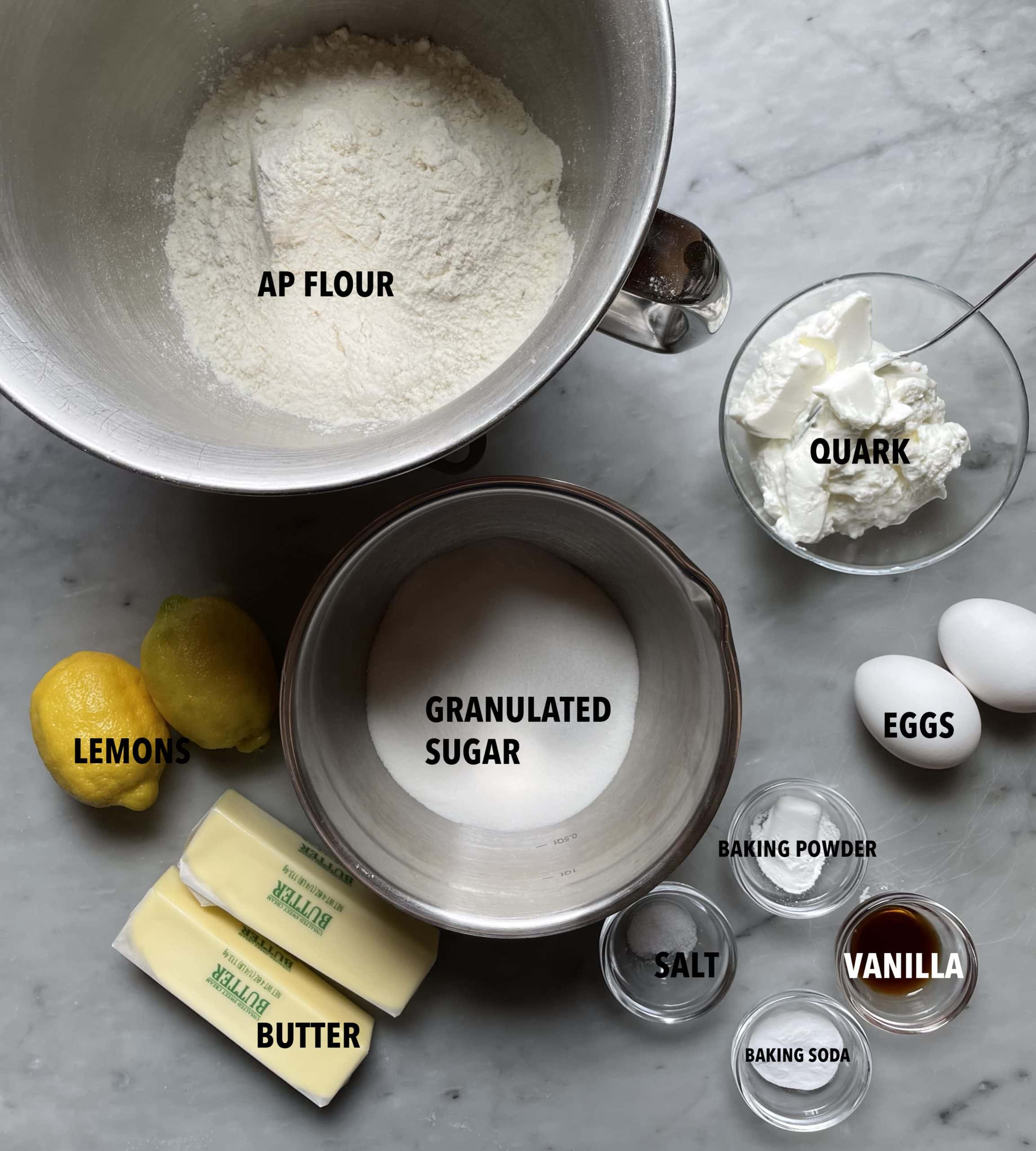 Image of the ingredients needed for Lemon Amerikaner