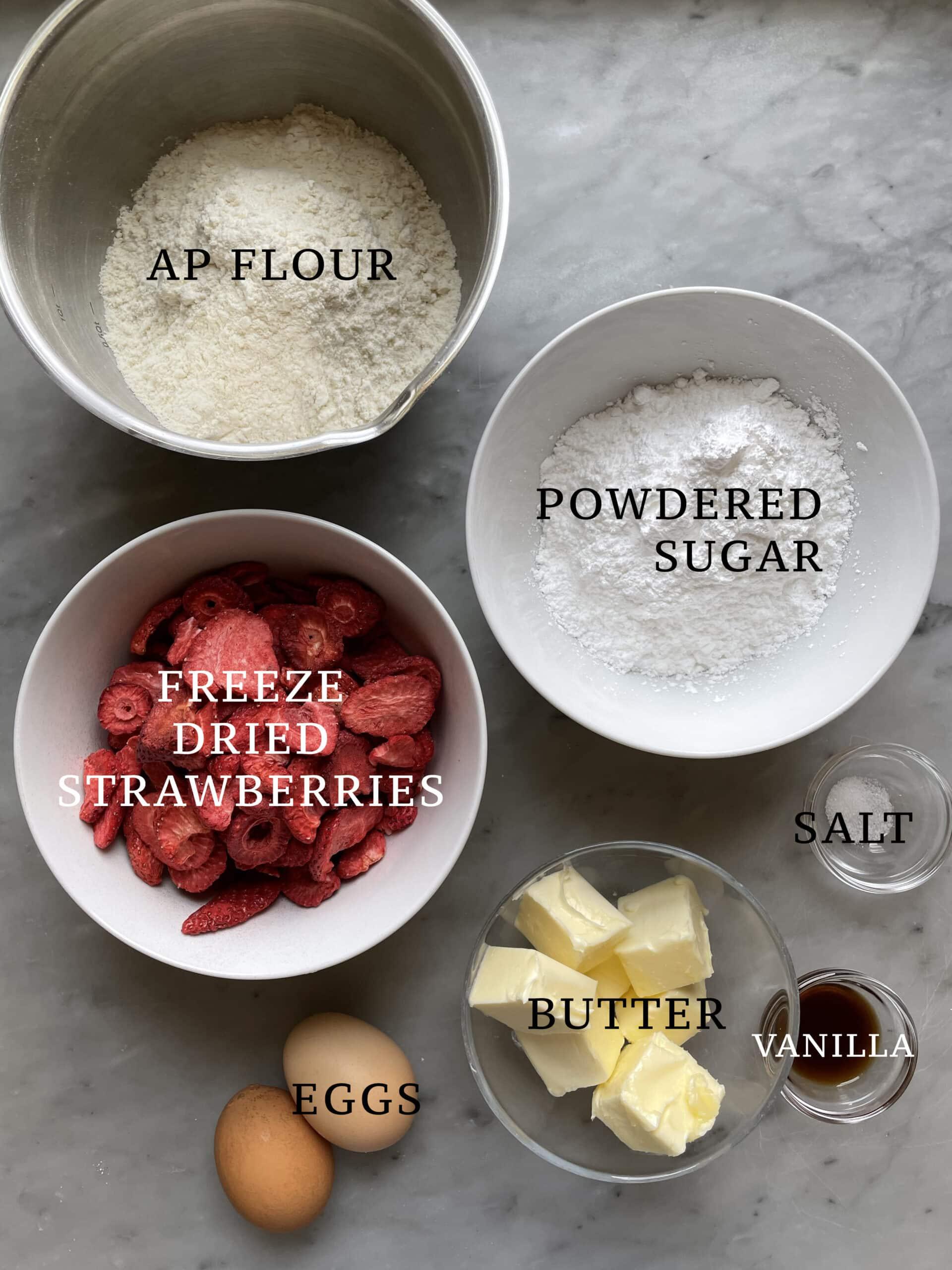 Image of the ingredients needed to make strawberry vanilla pinwheel cookies.