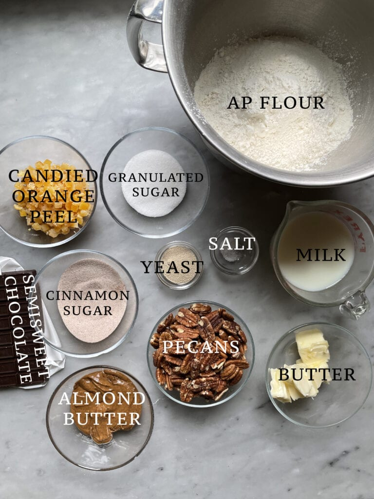 Image of the ingredients needed for the chocolate orange nusszopf.
