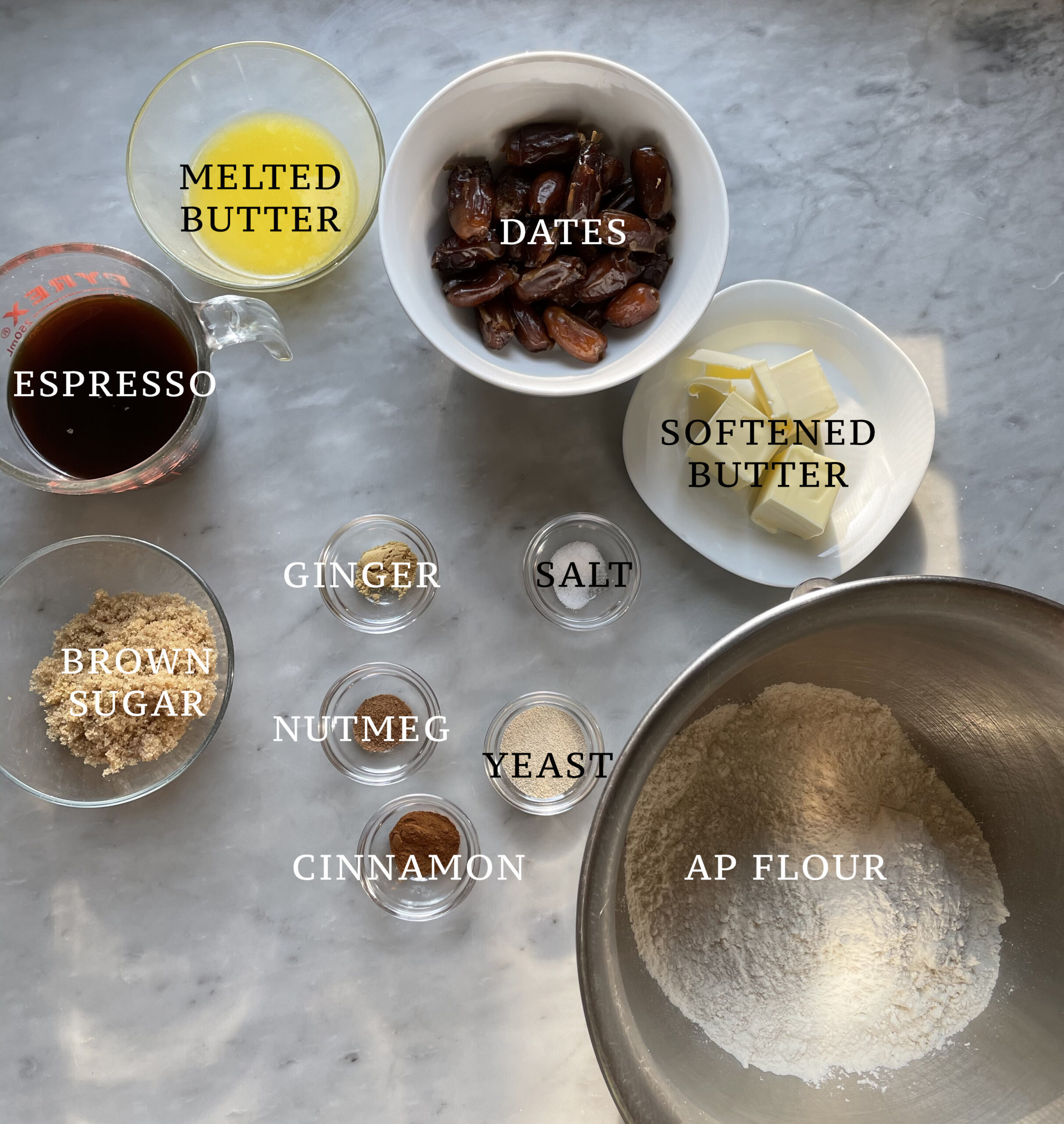 Image of the ingredients for the espresso date glazed buns.
