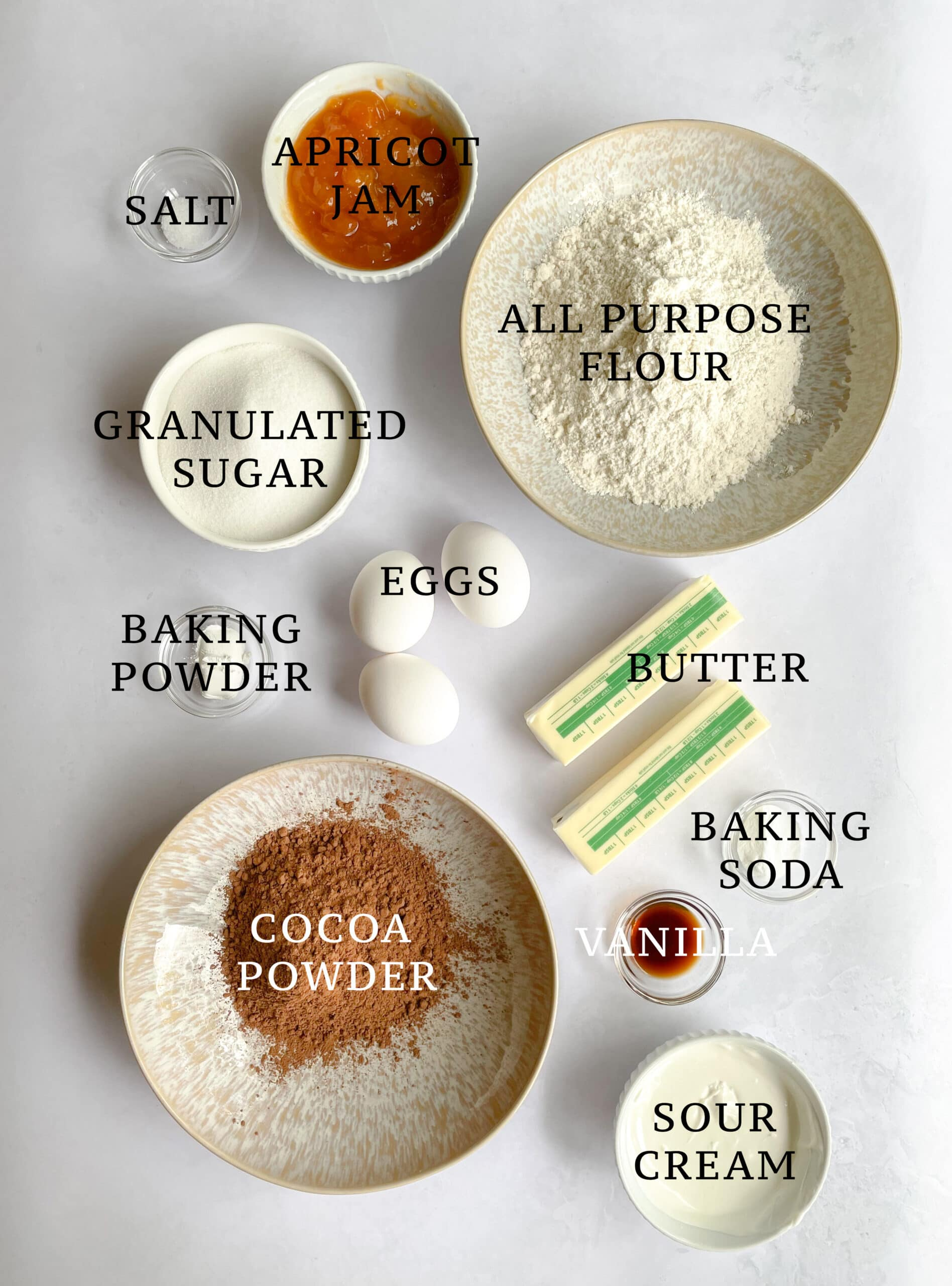 Image of the ingredients needed for Sachertorte Loaf.