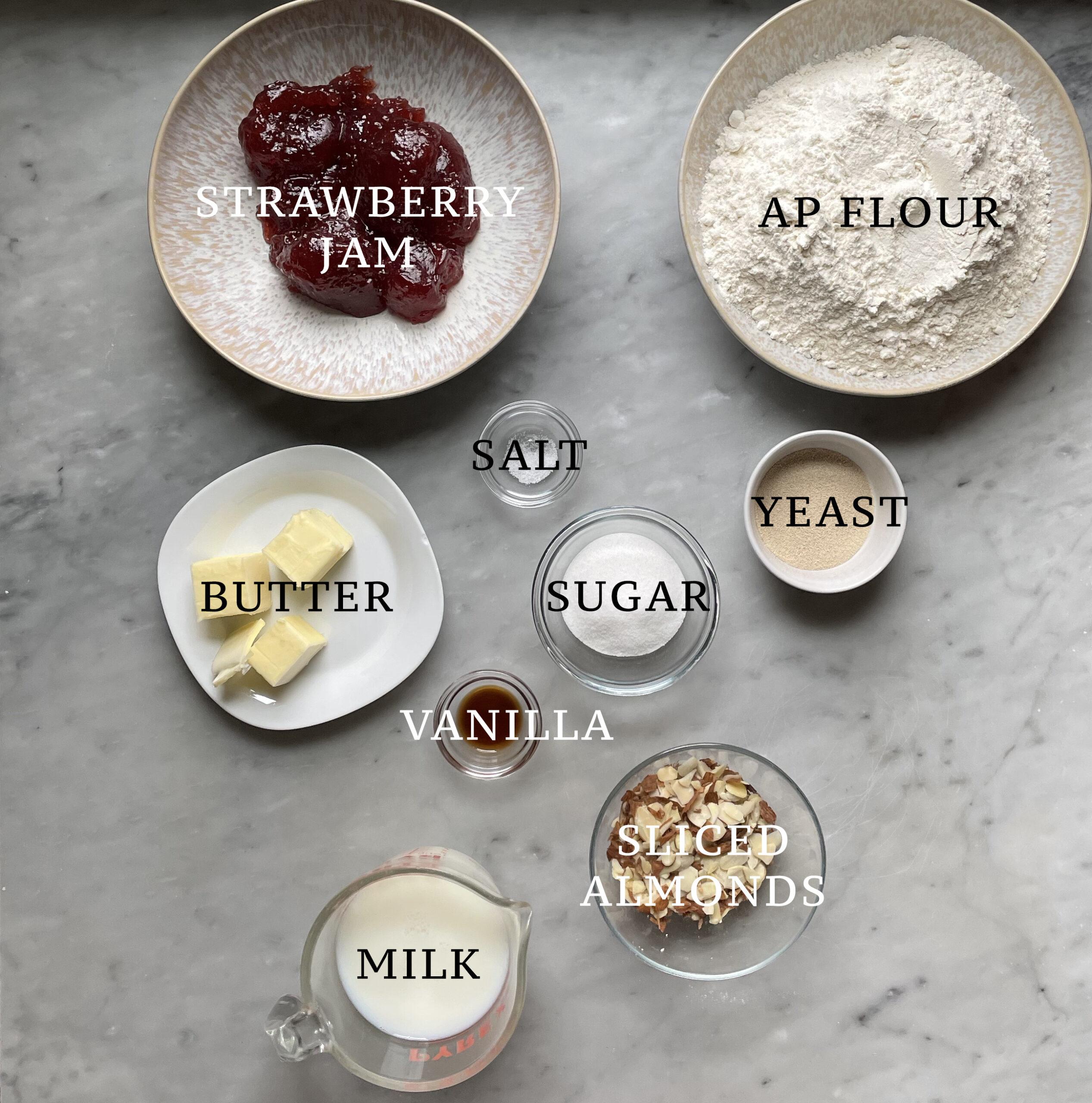 Ingredients for strawberry almond hefekranz.