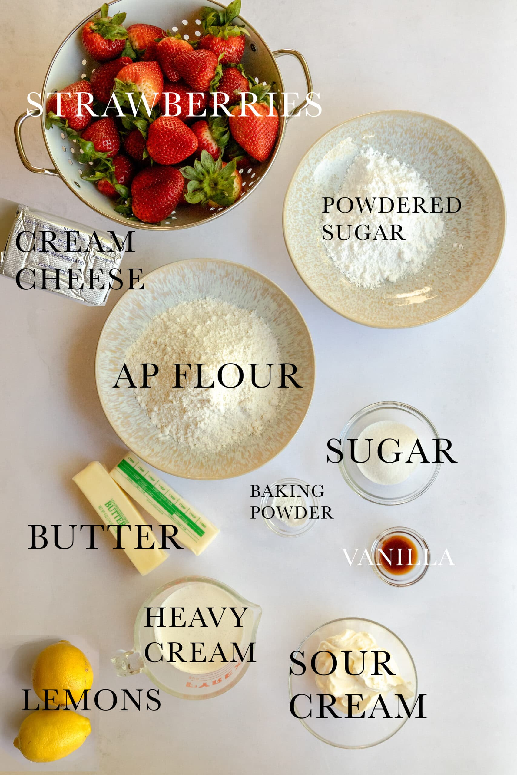 Image of ingredients needed for the Strawberries and Cream Blättertorte.