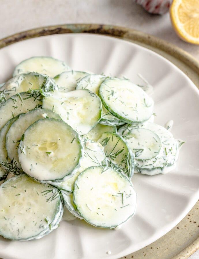 Gurkensalat | German Cucumber Dill Salad with Quark