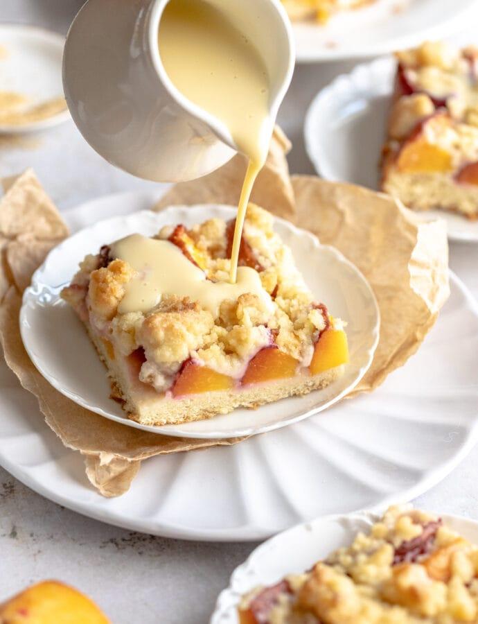Pfirsichkuchen mit Streusel   Peach Streusel Cake