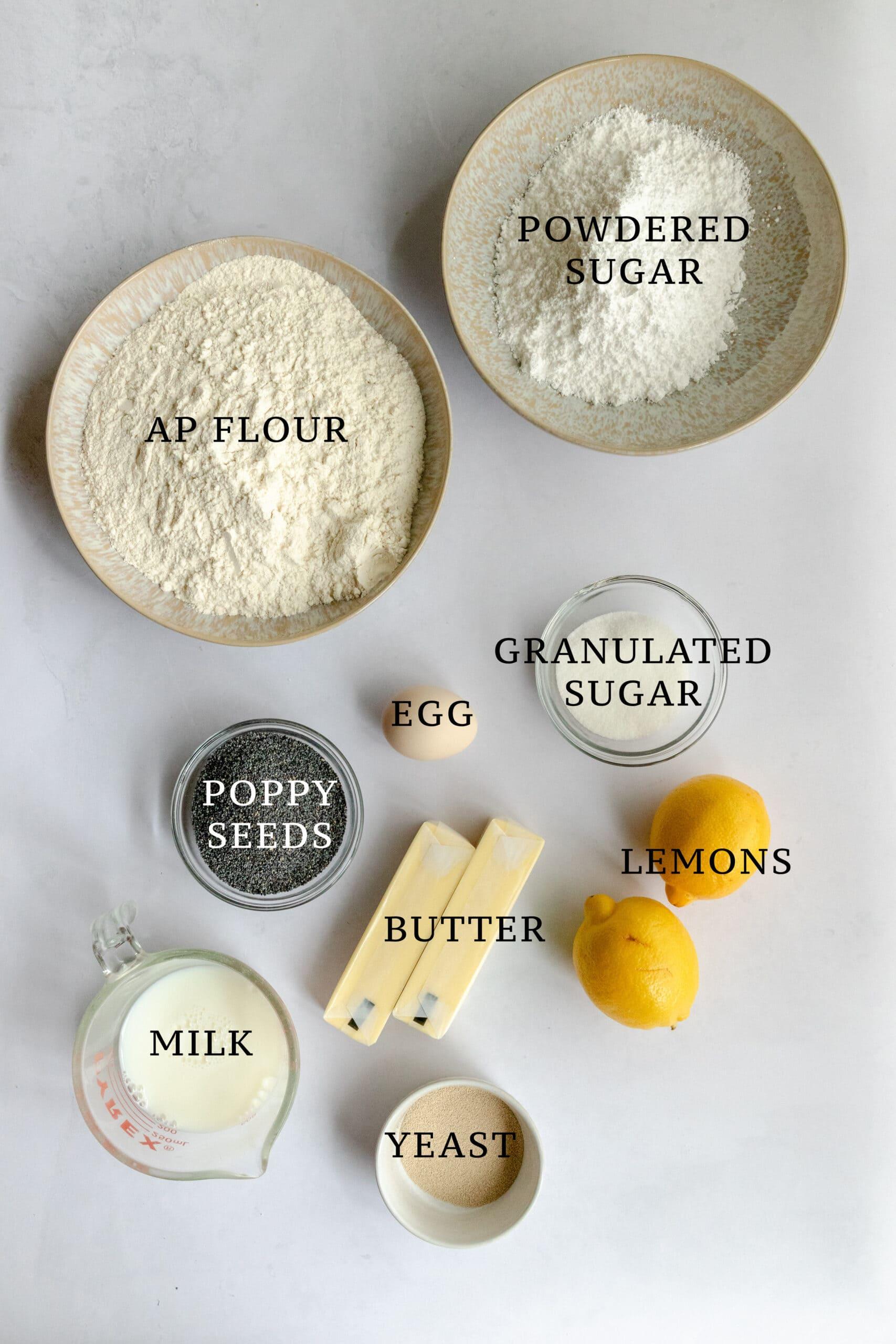 Ingredients needed for Mohn Franzbrötchen.