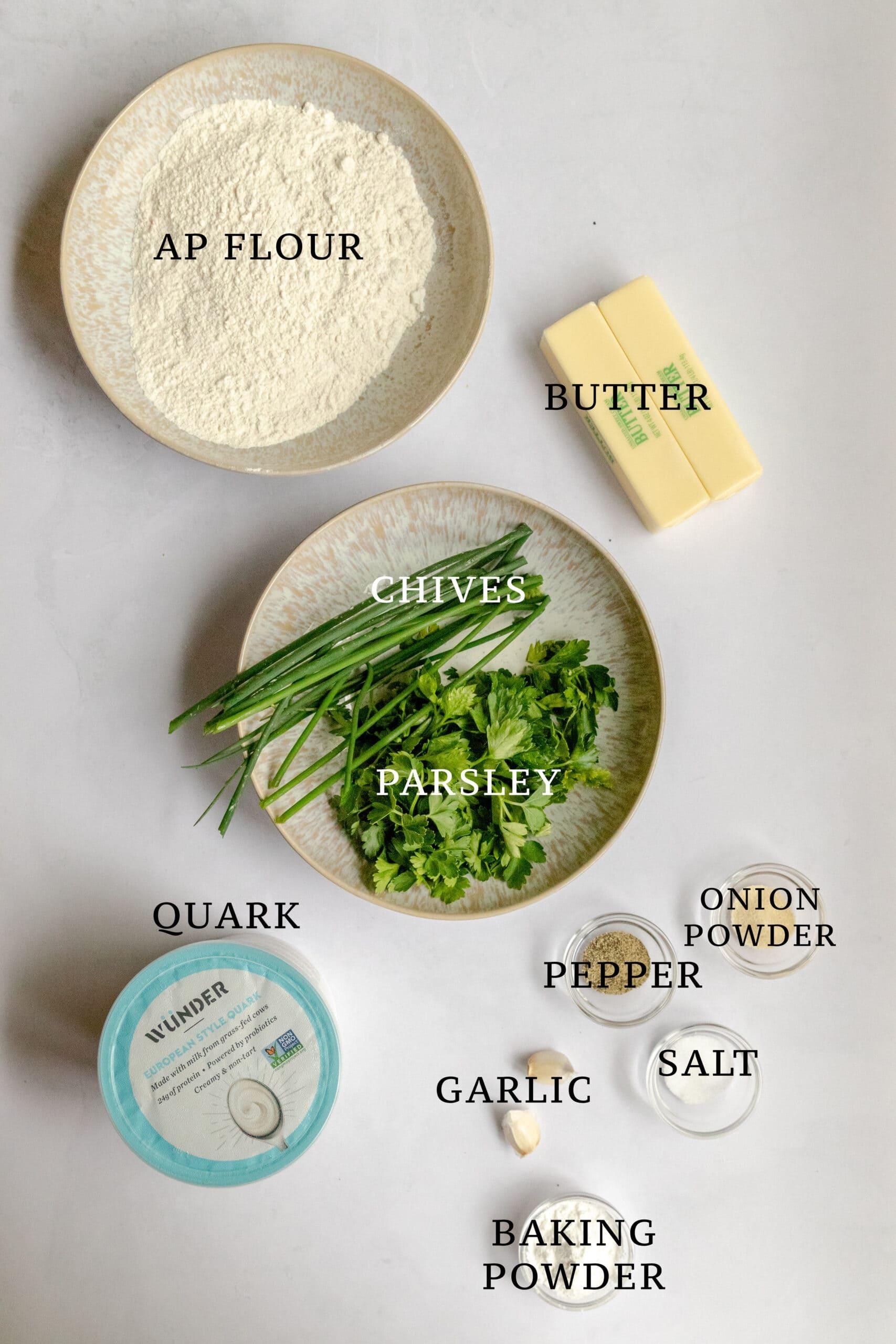 Image of the ingredients needed for kräuter quark scones.