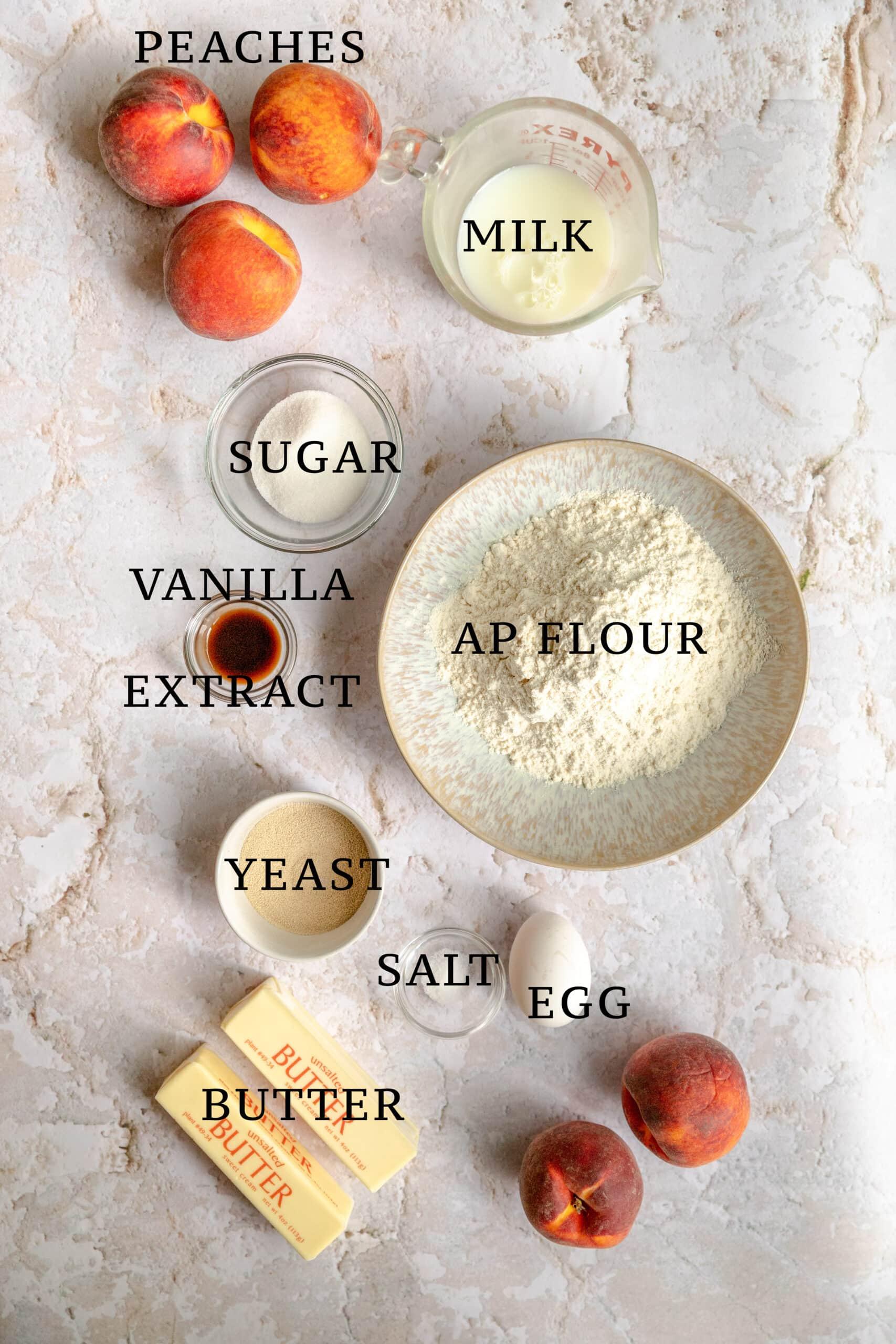 ingredients for the pfirsichkuchen - peach streusel cake.