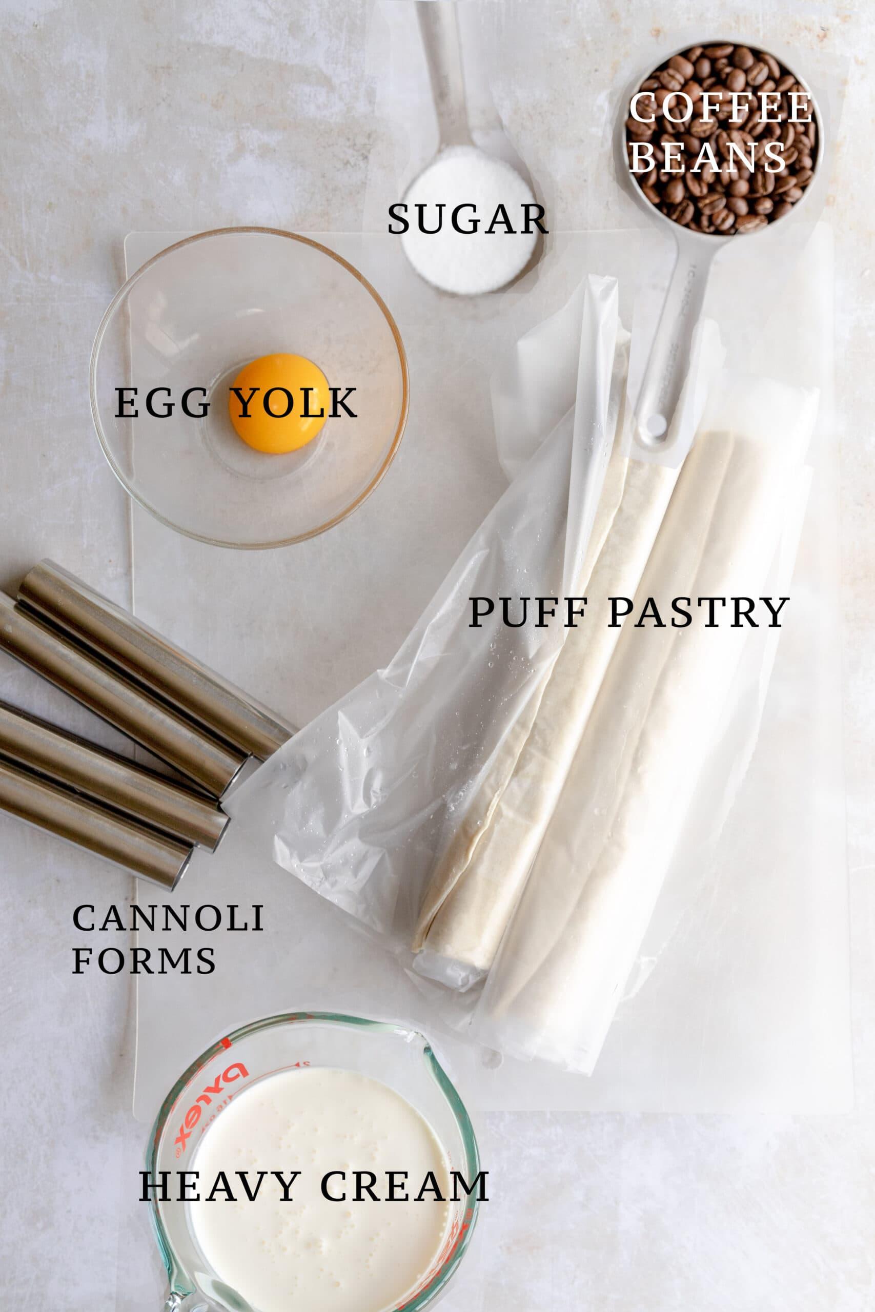 Ingredients needed to make espresso schaumrolle.