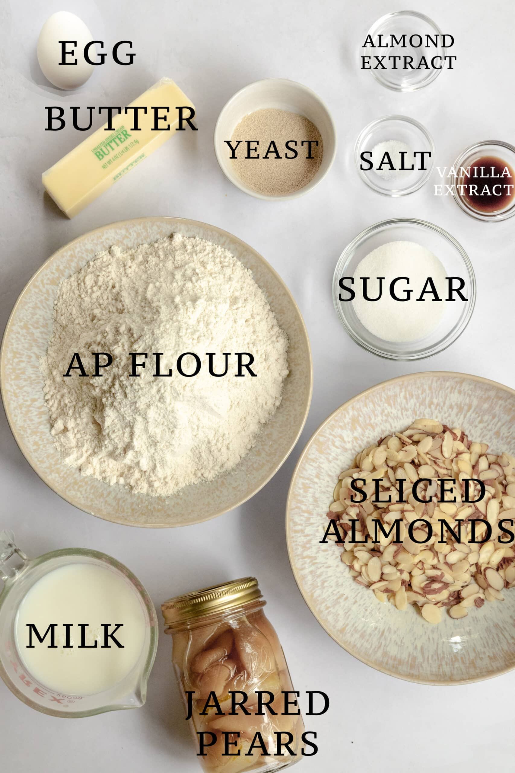 Image of the ingredients needed for Almond Pear Butterkuchen
