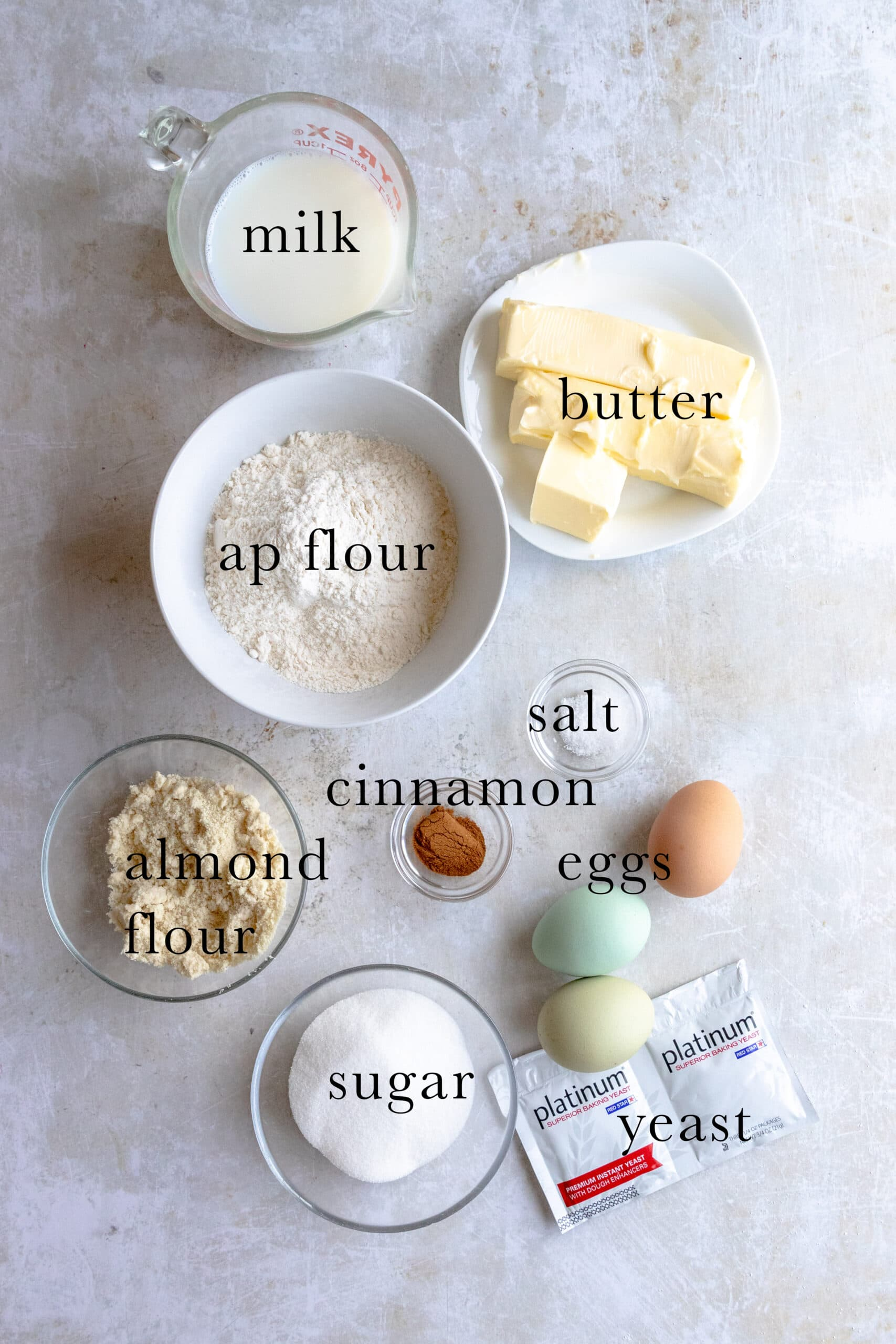 Ingredients for a Coffee Cake Gugelhupf.