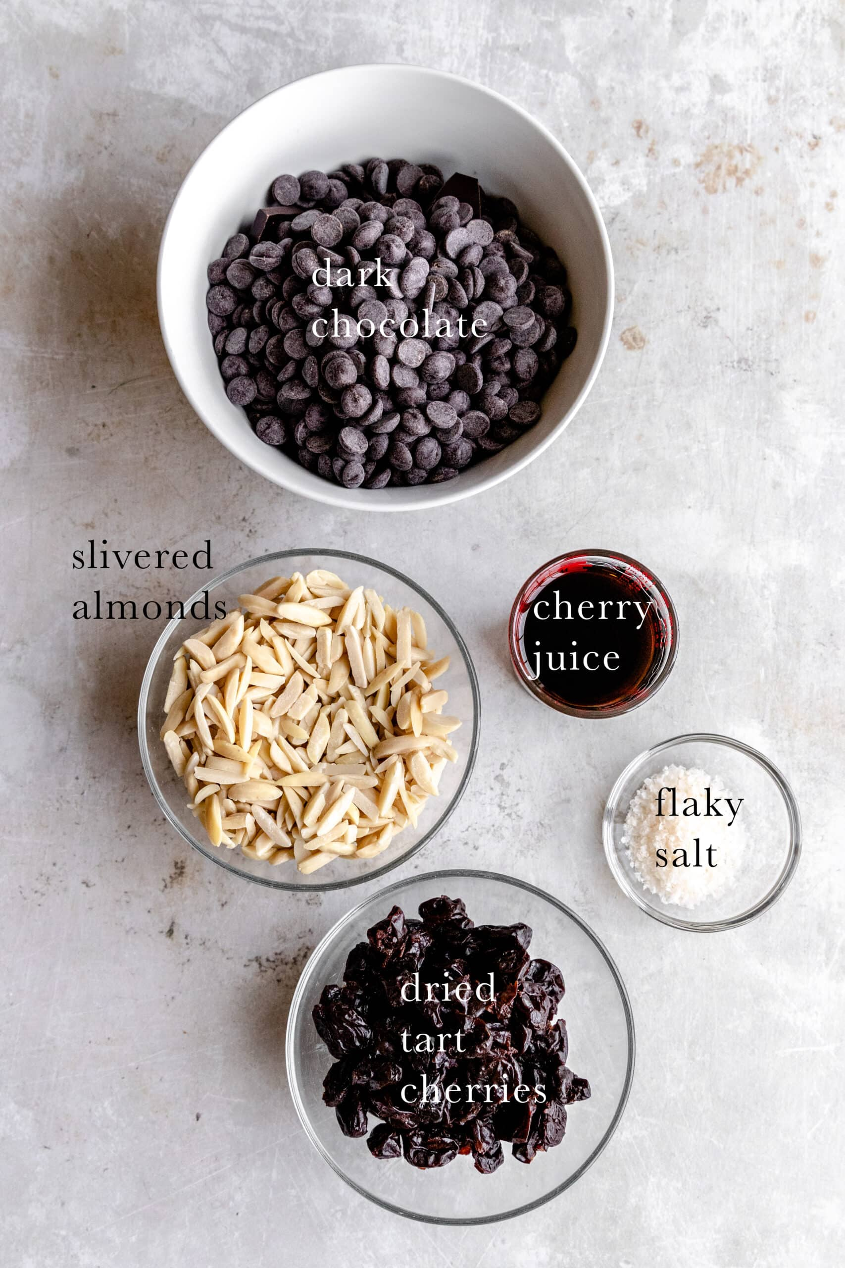 Ingredients needed for chocolate cherry almond truffles.