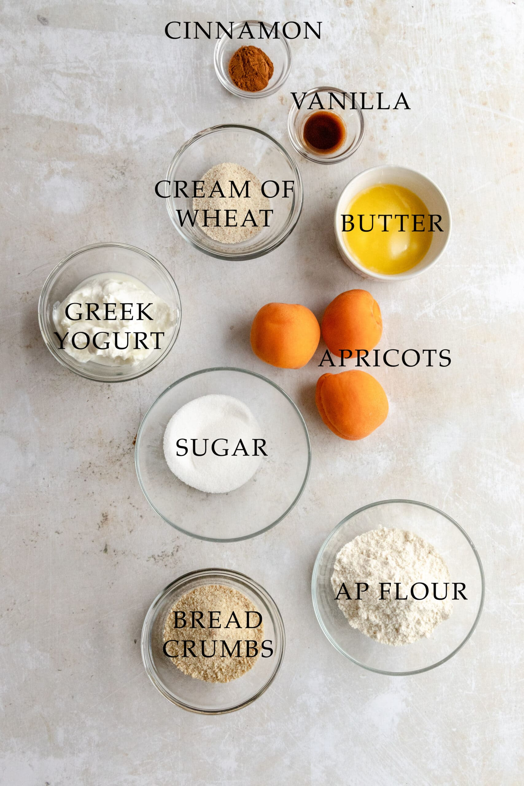 Ingredients needed for marillenknödel.