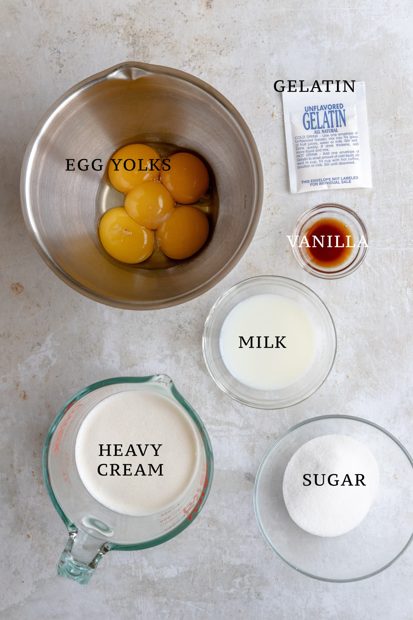 Ingredients needed for Bavarian Cream
