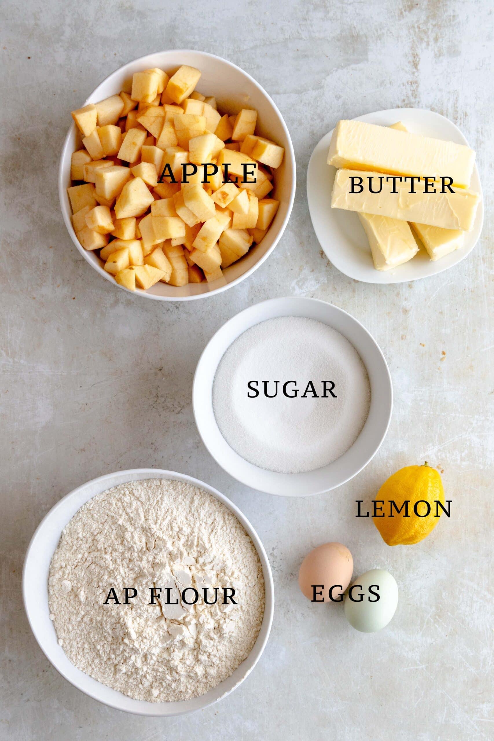 Ingredients needed for Apple Streusel Bars