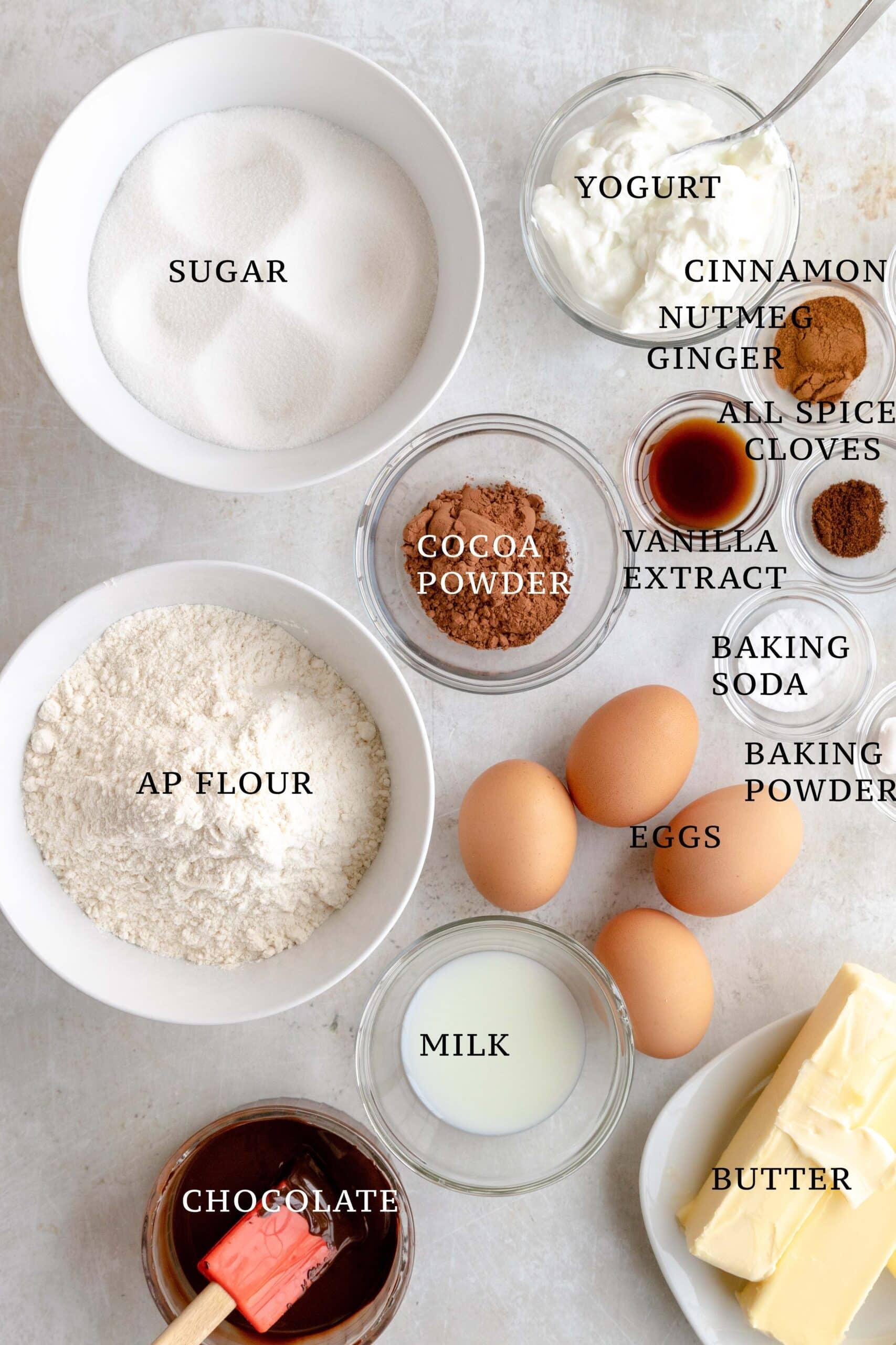 Ingredients needed for Lebkuchen Marmorkuchen Muffins