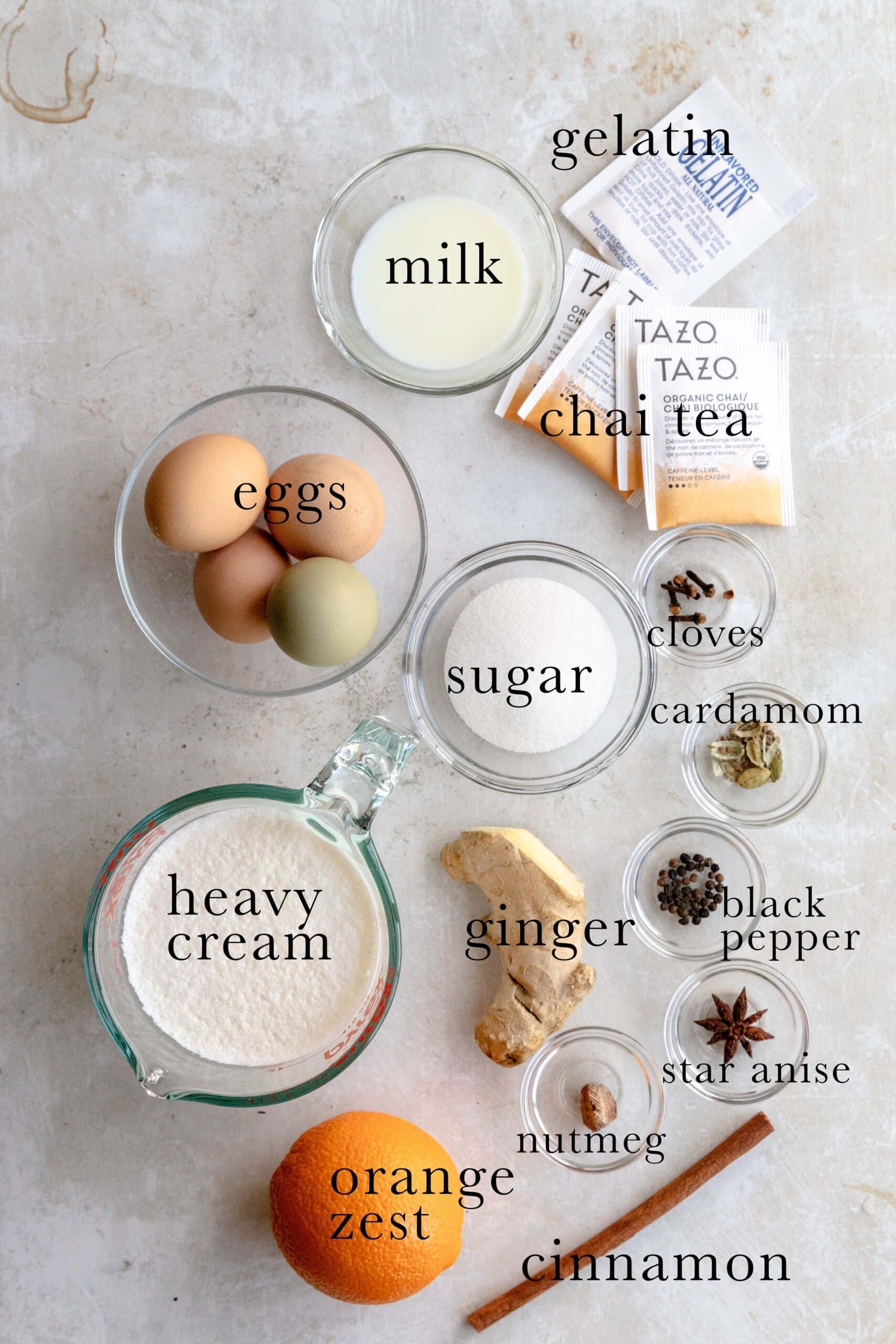 Ingredients needed for Chai Bayerische Creme