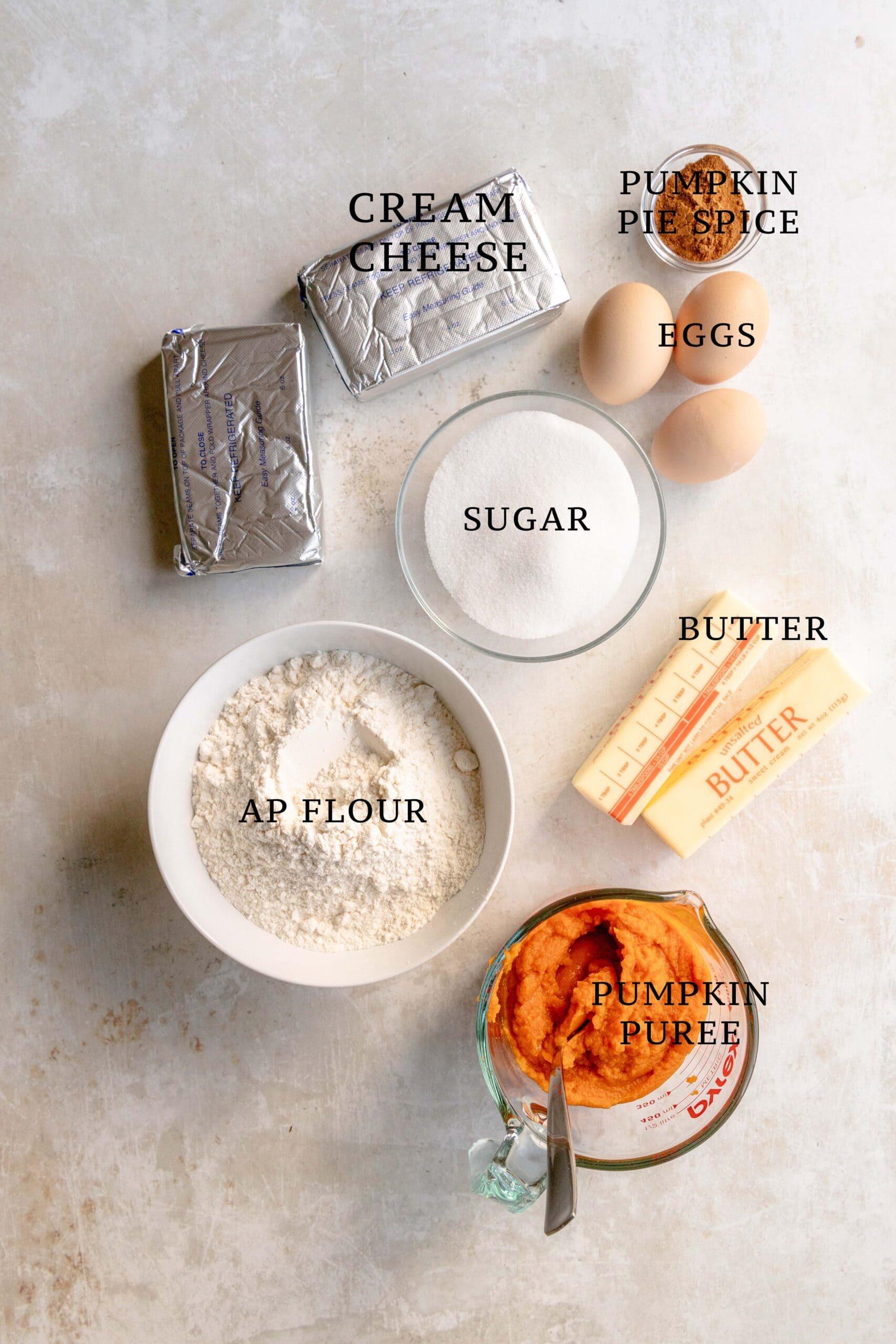 Ingredients for streusel pumpkin pie bars.