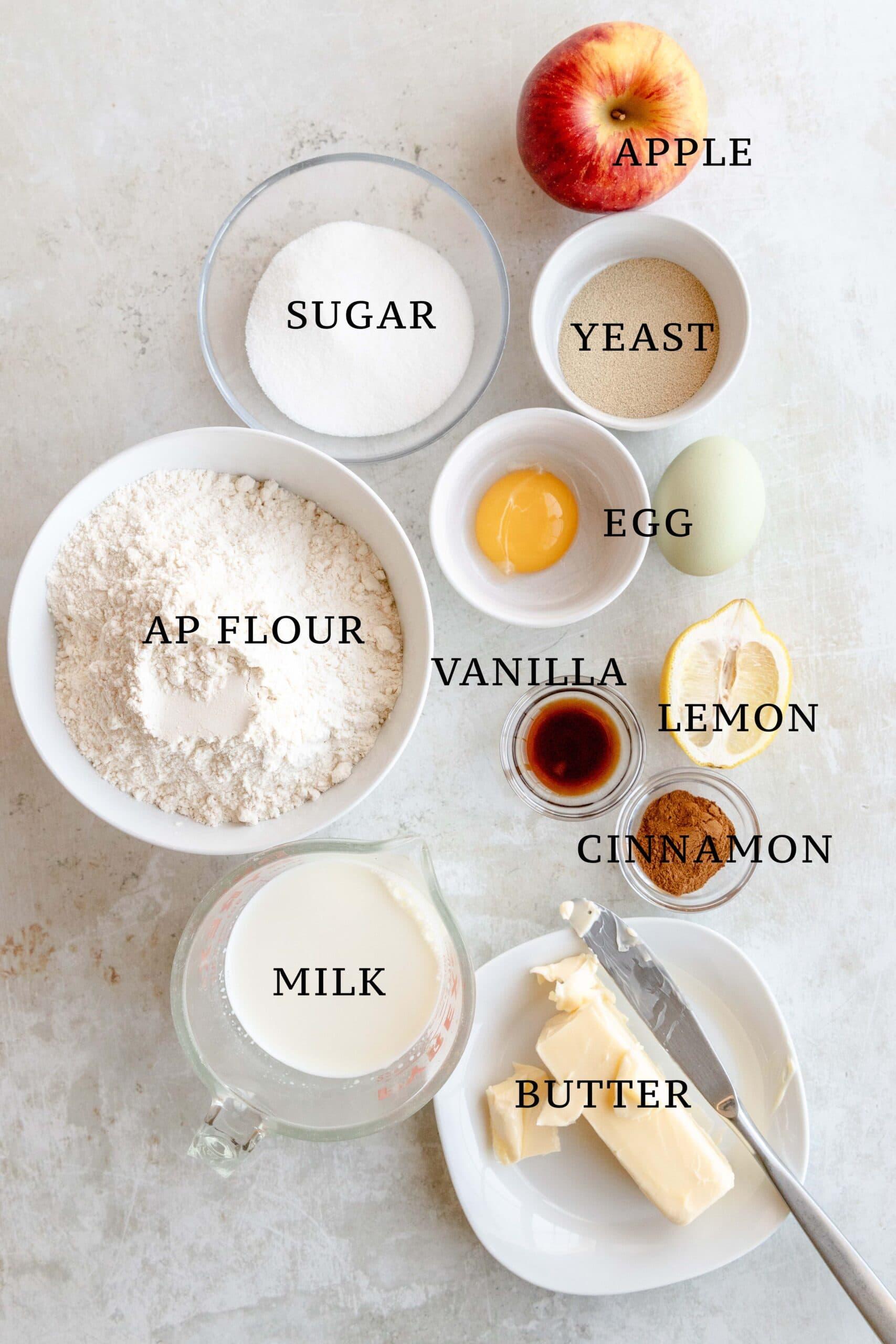 Ingredients needed for apfelschnecken.