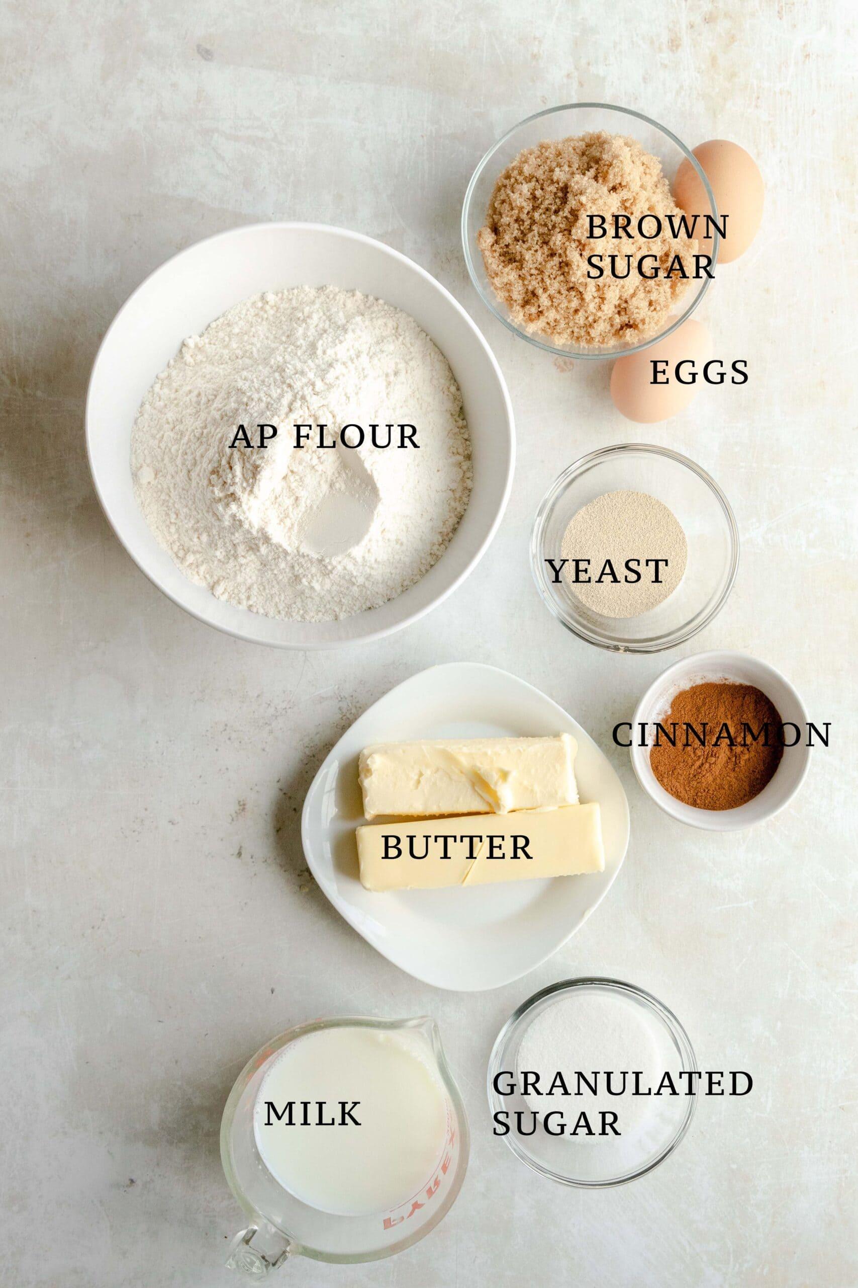 Ingredients needed for Franzbrötchen.